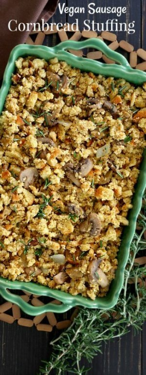 Vegan Sausage Stuffing Casserole at Thanksgiving is a treat and it's made with cornbread stuffing. This dressing recipe can match any stuffing in any test.