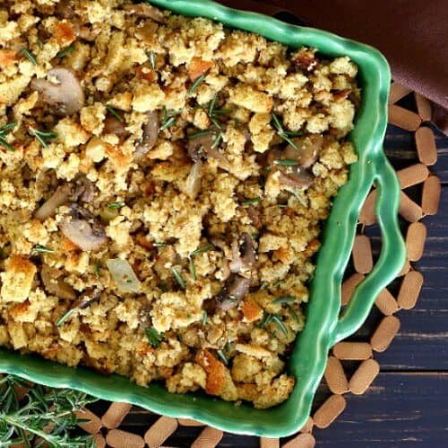 Vegan Sausage Stuffing Casserole s a treat and it's made with cornbread stuffing.