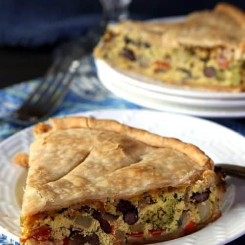 Broccoli Tofu Quiche is full of veggies and ready in under an hour.  A special dinner that makes a great leftover breakfast too.  Can be baked in a springform pan or a pie plate.