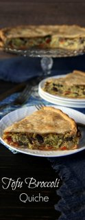 Broccoli Tofu Quiche is full of veggies and ready in under an hour. A special dinner that reheats perfectly. Can be baked in a springform pan or a pie plate.