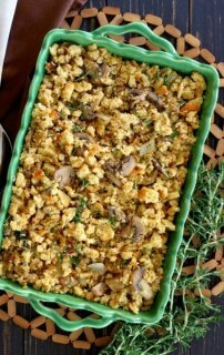 Vegan Sausage Stuffing Casserole s a treat and it's made with cornbread stuffing.  This dressing recipe can match any stuffing in any test.