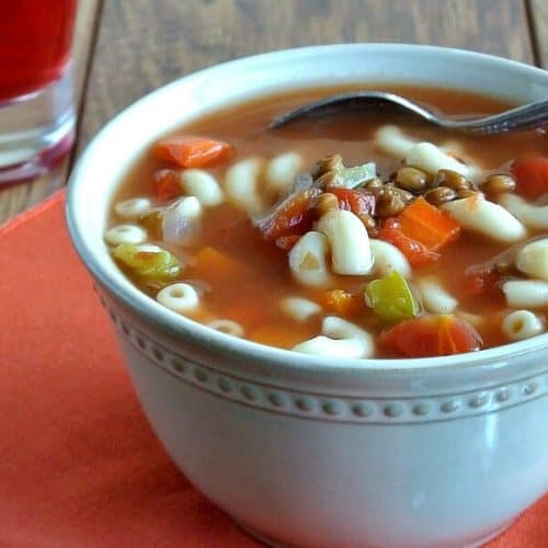 Easy Lentil Minestrone Soup is a little bit of a change-up from original minestrone soups in that it uses lentils instead of beans. The kids will love it.