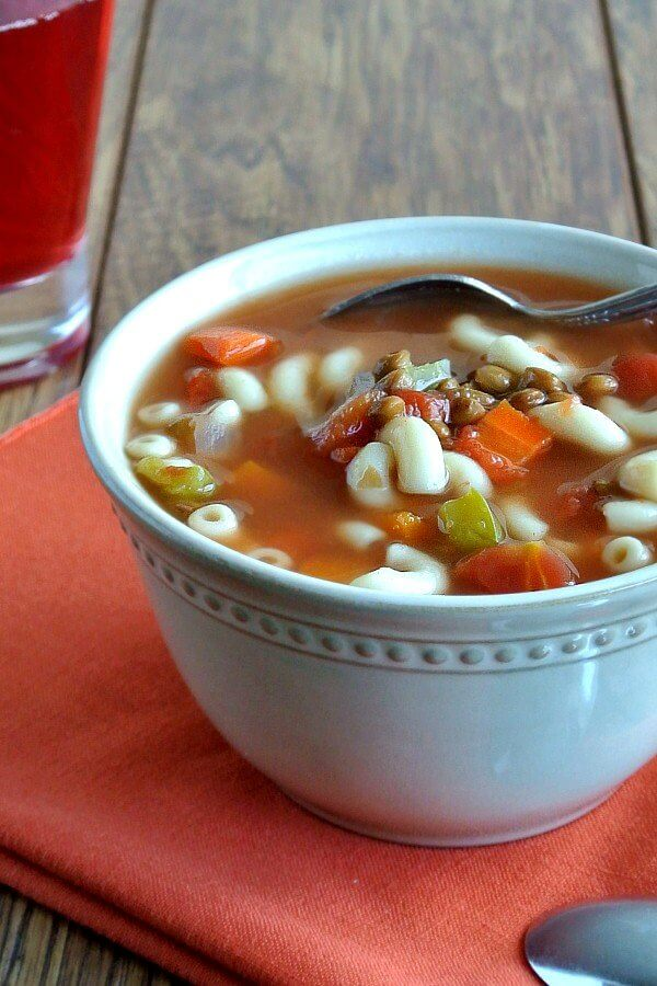 Easy Lentil Minestrone Soup