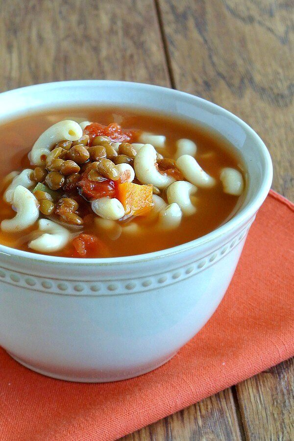 Easy Lentil Minestrone Soup is special in that there are lentils instead of beans. Great flavor that the kids will love.