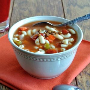 Easy Lentil Minestrone Soup is a little bit of a change-up from original minestrone soups in that it uses lentils instead of beans.
