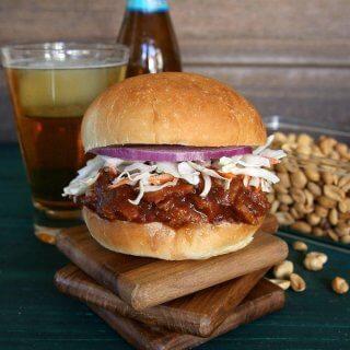 Texas BBQ Sausage Seitan Sandwich