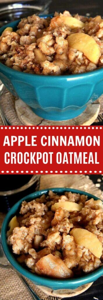 Two photos one above the other of cookes apples slice and oatmeal in a turqupise bowl with text in the center on red.