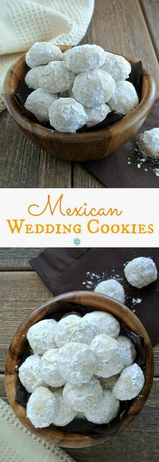 Mexican Wedding Cookies are covered with powdered sugar and are filling a small undulating wooden bowl.showcased in two different views. One bowl of powdered sugar covered is straight on and the other is overhead.