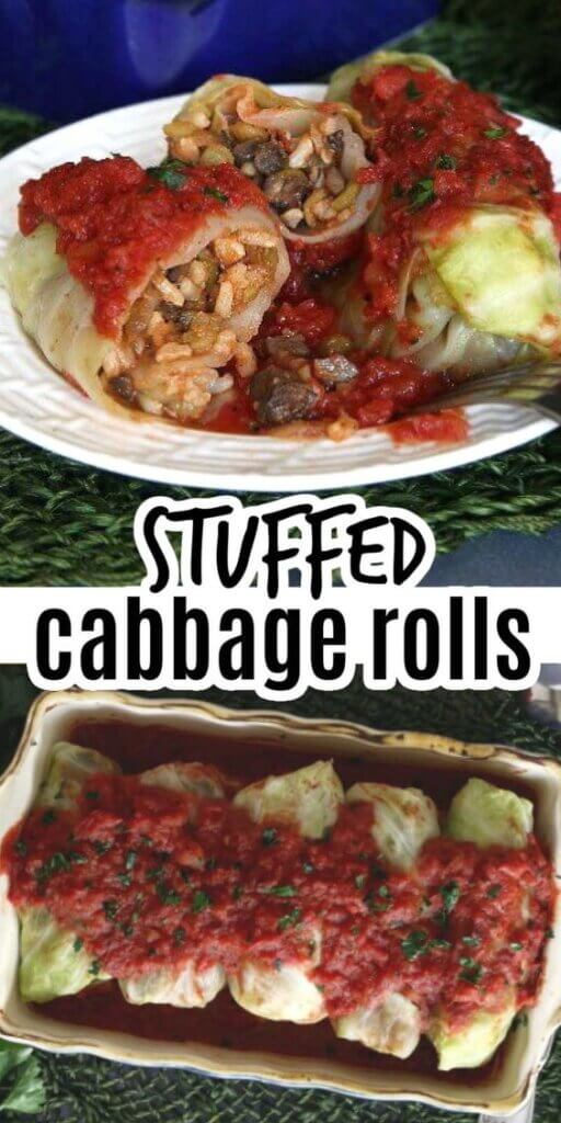 Two photos one above the other showing caggage rolls in a casserole and then plated with one broken open to see the rice and veggie filling.