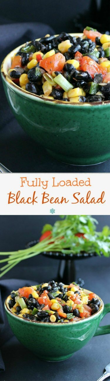 Fully Loaded Black Bean Salad is bright and inviting with yellow, black, orange and green and it's served in a giant green cup. One photo above another showing different angles for a collage.