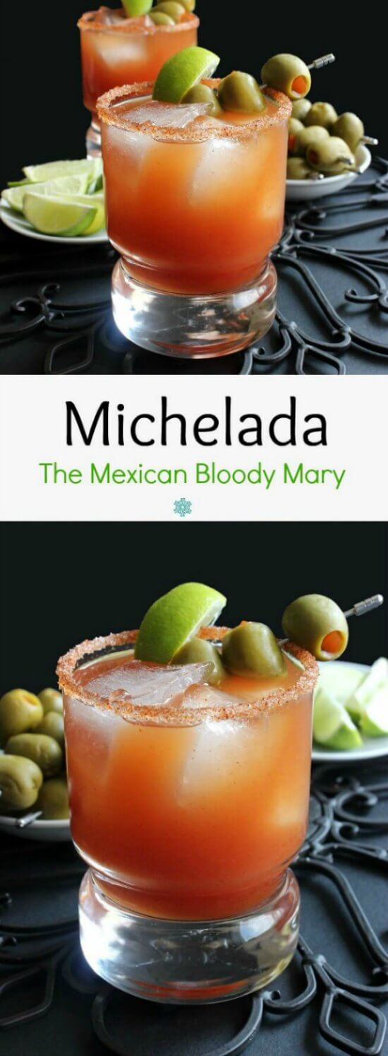 Michelada, the Mexican Bloody Mary is rich tomato red with a rim of salt and chili seasoning. Garnished with lime and green olives.