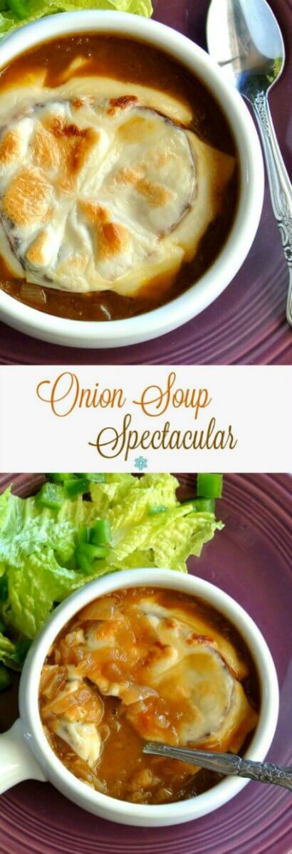 Homemade French Onion Soup Spectacular is two photos above each other and the are both showing a rich gold brown soup filled with luscious onions.