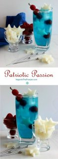 Patriotic Passion Cocktail photographed with two photos, one above the other with the colors of red white and blue cocktails.