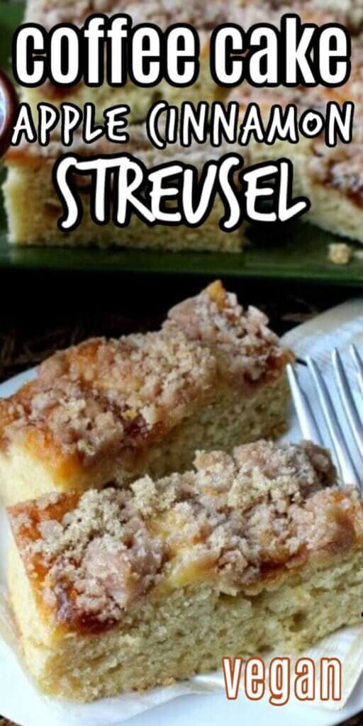 Close up photo of coffee cake with an apple streusel topping shown at different angles.