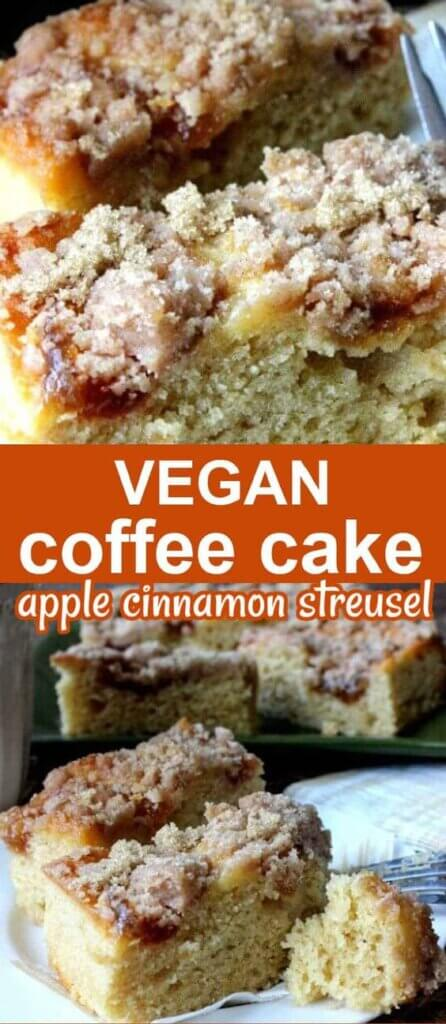 Two photos one above the other of coffee cake bars with apple streusel topping. text on orange in the center for pinning.