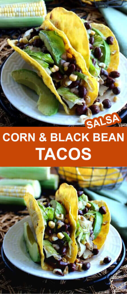 Two photos one above the other showing black bean salsa with corn tacos at two different angles. Text in the center on orange.