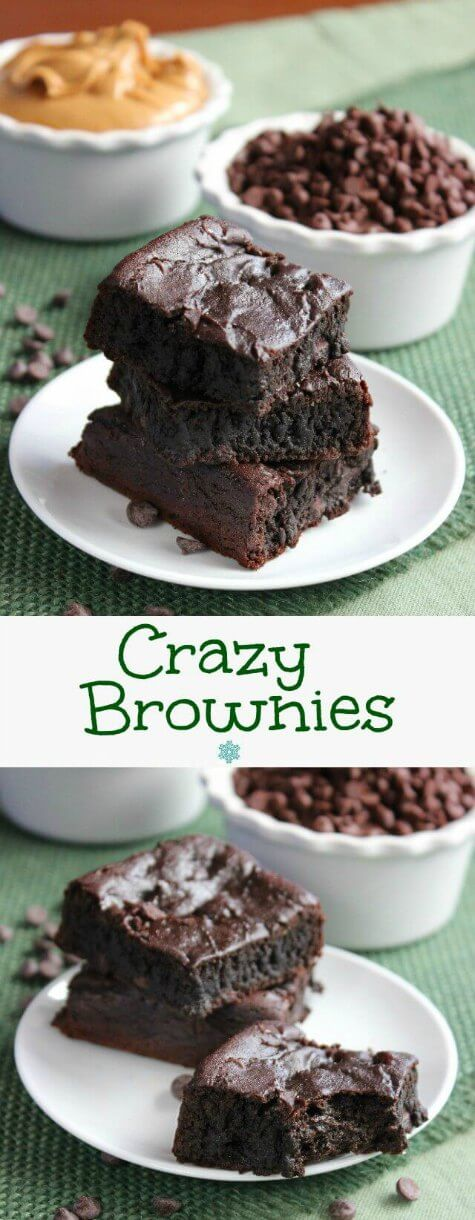 Crazy Brownies are cut into squares and stacked on top of each other on a small white plate and green burlap mat. Two photos with a bite out of the bottom brownie.