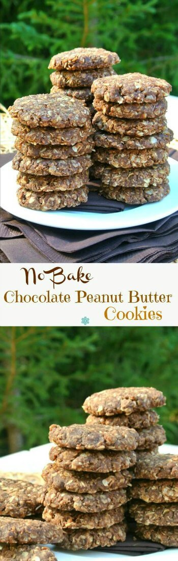 No Bake Chocolate Peanut Butter Cookies have a close-up and are stacked willy nilly on a white plate against a green background. Two photos with three neat stacks of 7 cookies each.