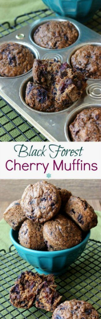 Black Forest Cherry Muffins are photographed with one picture above the other. One photo has the muffins piled high in a turquoise bowl and the other is the tin fresh out of the over with one muffin broken open.