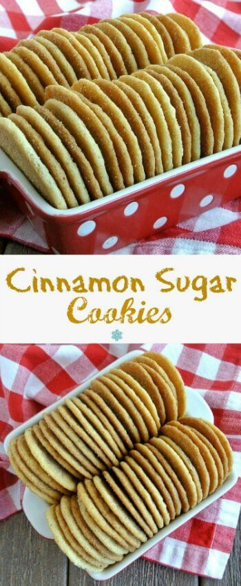 Cinnamon Sugar Cookies are big and round and lined up straight on their sides. Lined up on end and filling up a red and white polka dot glas dish.