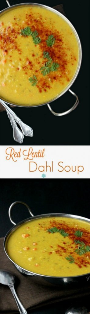 Red Lentil Dahl Soup has two photos one above the other. A bright saffron color in a silver handles bowl with spoons laying on the side.