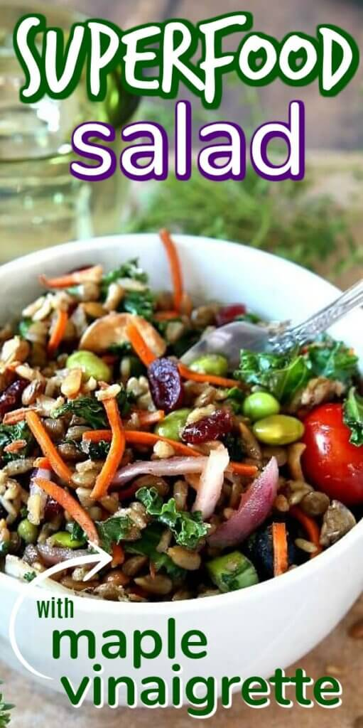 A great mix of grains, nuts, seeds and veggies in a white bowl with text above for pinning.