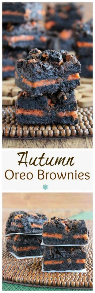 Autumn Oreo Brownies are cut into a square and there is a layer of orange oreo cookies center going through the middle of the brownie. Two photos in over each other. There are two brownie stacks on top of each other and two more behind.