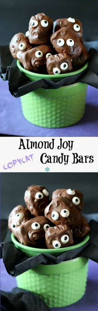 Copycat Almond Joy Candy Bars are piled in a green jar with their googly eyes looking at you. Two photos with one above the other. Swirly chocolate hair and mouths are in scary and cuts poses.