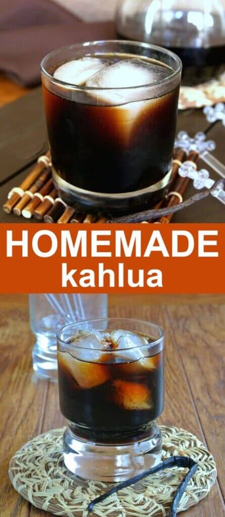 Two photos tumblers filled with ice and homemade kahlua.