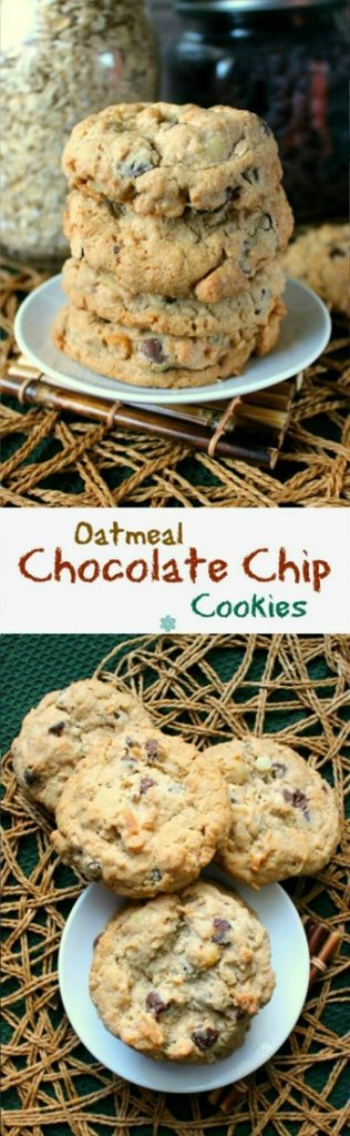 Nut Free Oatmeal Chocolate Chip Cookies are shown in two photos, one above the other. The cookies are set in small white plates sitting a an open weave beige mat.