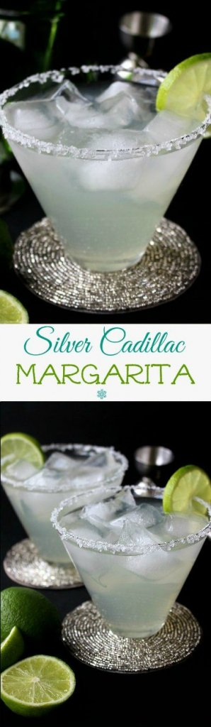 Silver Cadillac Margarita is a simple cocktail that is pale lime green and is pour in a flared glass with ice cubes. Two photos one above the other. A thin lime slice is on the glass edge against a black surrounding.