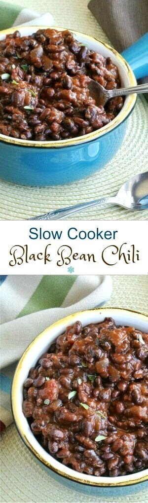 Slow Cooker Black Bean Chili is featured with two photos one above the other. One's a side view and one's an overhead view of the rich colored chili in a turquoise handled bowl.