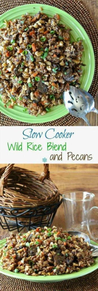 Slow Cooker Wild Rice Recipe with Pecans is pictured in two photos. One above the other. The deep rich colors of the blend is glistening on a green plate and is waiting to be served up.
