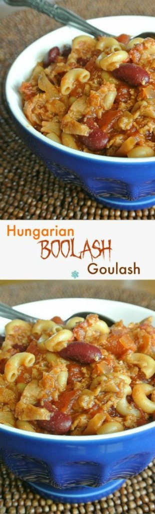 Vegan Hungarian Goulash is in two different photos, one above the other. Rich macaroni dish is modernized and filling a cobalt blue bowl.