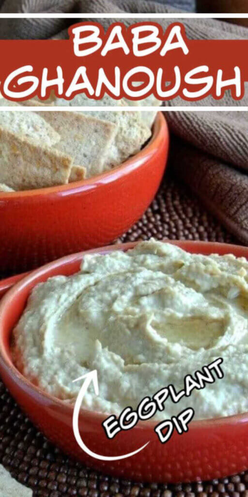 A red bowl is holding creamy baba ganousch with oil twirled in the center. Another red bowl full of pita chips is behind.