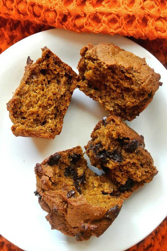 Easy Vegan Pumpkin Muffins are laying two on a plate and are split open. One has chocolate chips and one doesn't.