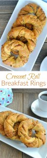 Crescent Roll Breakfast Rings are sprawled down a rectangle white plate. 5 Rings are overlaying each other and glistening with sweetness. Two photos with one above the other showing two different angles.