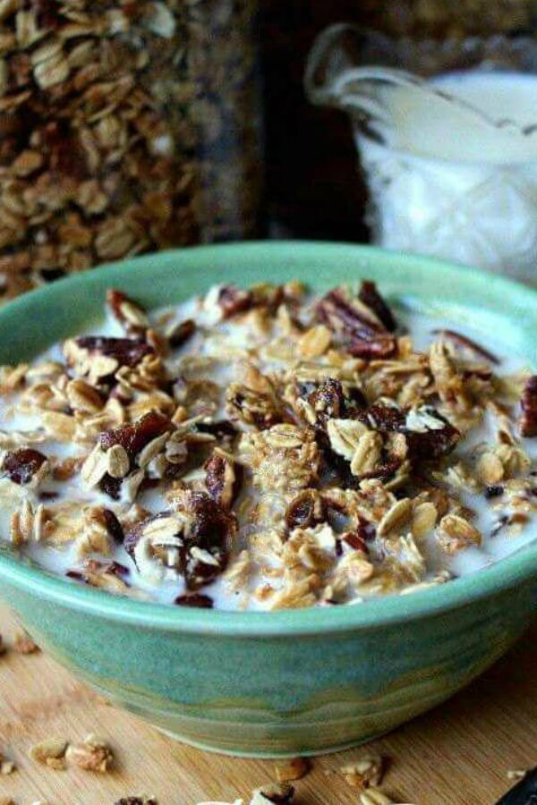 Homemade Date Bar Granola is a comforting breakfast that makes a filling meal.  Simple, healthy and vegan this cereal takes just minutes to prepare.  #granola #dates #snack #veganbreakfast #vegan #brunch #veganrecipes #veganfood #vegetarian #dairyfree #breakfast #veganinthefreezer