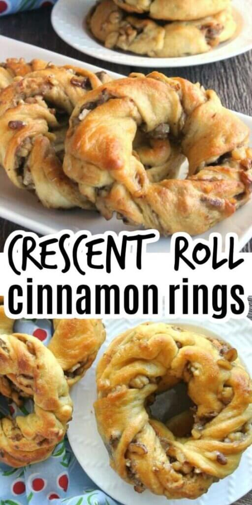 Two photos one above the other with stacks of cinnamon rolled pastries in the shape of wreaths.