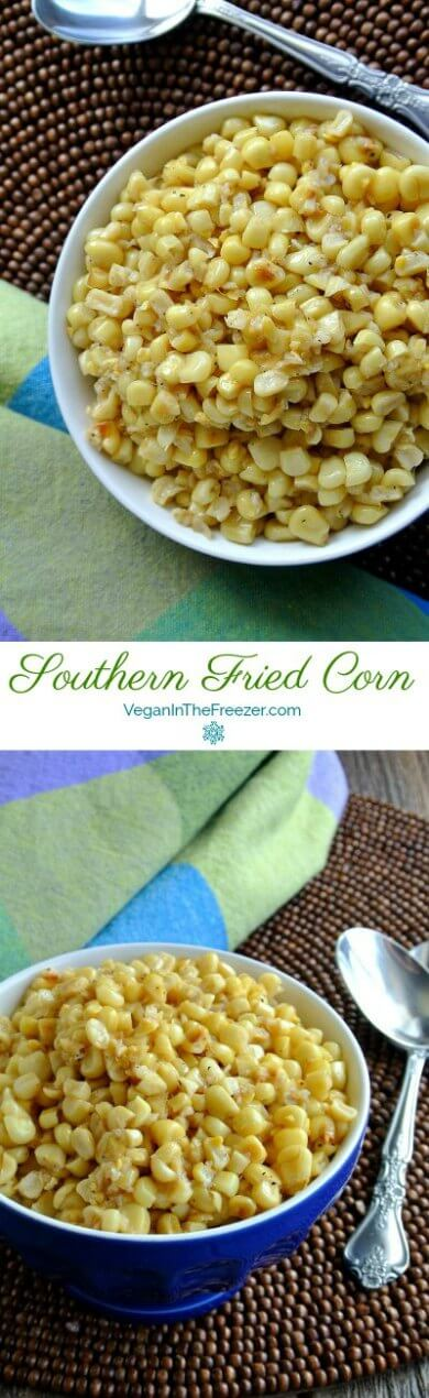 Fried Corn is photographed in two photos, one above the other. Golden yellow corn is piled high in a cobalt blue bowl and all are on a brown wooden and beaded round mat.