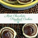 Mint Chocolate Pinwheel Cookies are an overhead photo as the cookies are resting on a black cooking rack. Swirls of chocolate have been added to the top middle tops for a more festive look. Another photo is above of a close-up of the brown and white swirl cookies. Piled high.