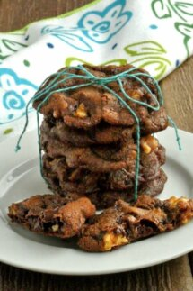 Vegan Chocolate Cookies are stacked five cookie high with a turquoise wrapping string tied in a bow on top. A broken cookie is in front on a white plate.