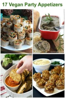 Four photos out of the 17 Vegan Party Appetizers in vertical shapes. Green lettering!