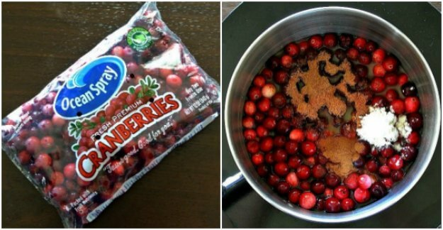 Two photos - one is package of cranberries the other is an overhead photo of ingredients in a pot.