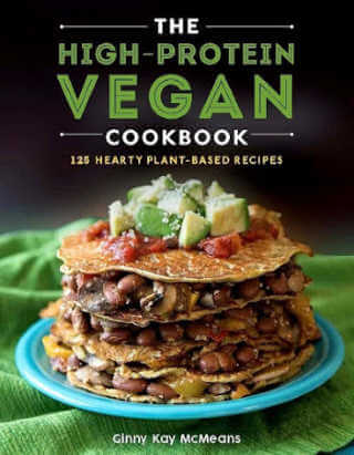 The High Protein Vegan Cookbook cover in blues, browns and green with a stack of stuffed crepes.