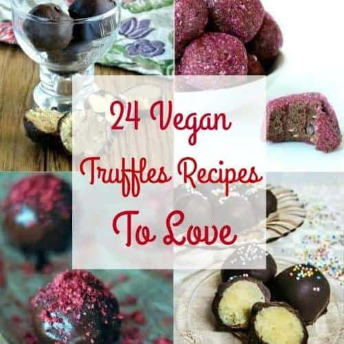 Four truffle recipe photos with different fillings showcased for a vegan truffle roundup.