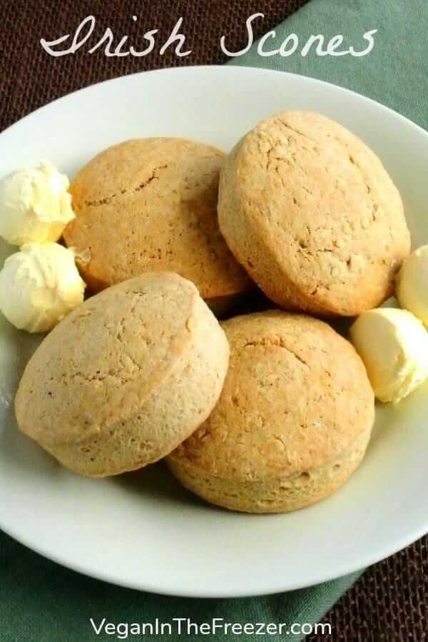 Brown Bread Irish Scones will help make your Irish meal complete. Just a tiny bit sweet they are a perfect complement to a big hearty meal. A side dish worth passing around at dinner or breakfast.  #sidedish #scones #veganrecipes #dairyfree #breakfast