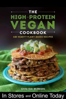 Photo of the The High Protein Vegan Cookbook cover of a stack of crepes layered with beans, mushrooms and peppers.