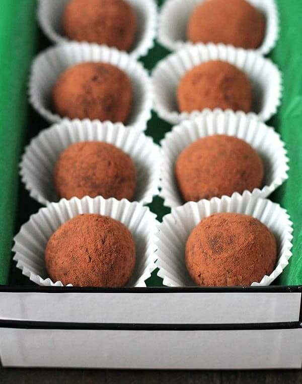 Dark Chocolate Mint Truffles are dusted with cocoa and box for a loving gift.