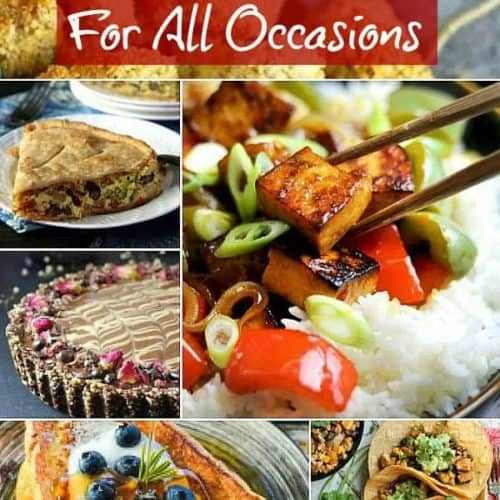 Multiple Tofu recipe photos out of 25 recipes in a collage from french toast to silk French pie.